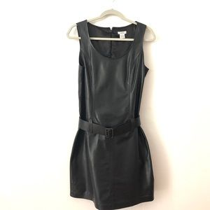 Cache Lamb Leather Belted Dress